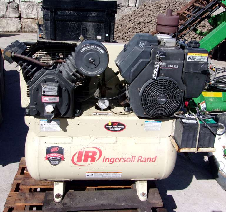 Ingersoll Rand Gas Powered Electric Start Air Compressor, 12.5 HP Gas Engine, 2-Cylinder Compressor, Runs Well