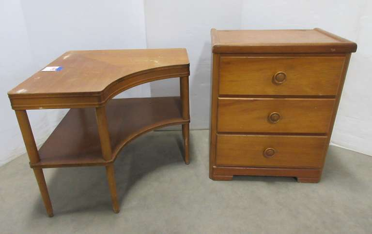 "Night Stand, 23 1/2""W x 17""D x 29""H; Corner Table, 27 3/4"" x 27 3/4"" x 24 1/4""H"