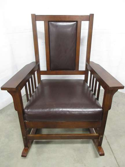 Large Rocker with Leather Seat and Back