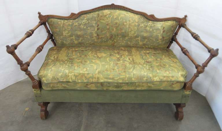 Antique Couch/Settee, Seller States Rescued from Flint Historical Building Basement, Ornate Carved Detail on Back and Legs