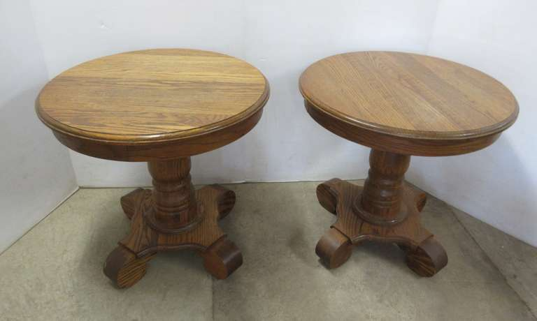 (2) Round Oak End Tables