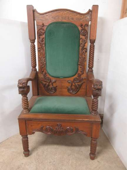 Old Wooden Ornate Throne with Carved Lion Arms