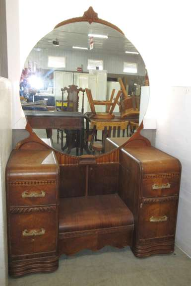 Early Mid-Century Wood Four-Drawer Waterfall Vanity with Mirror