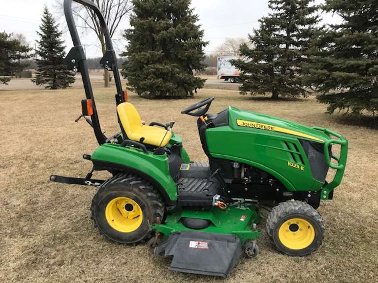 "John Deere 1023E 4X4 Compact Tractor with 60"" Drive Over Deck, 3-Point, PTO, R4 Tires, Hydrostatic Drive, Runs and Works Well"
