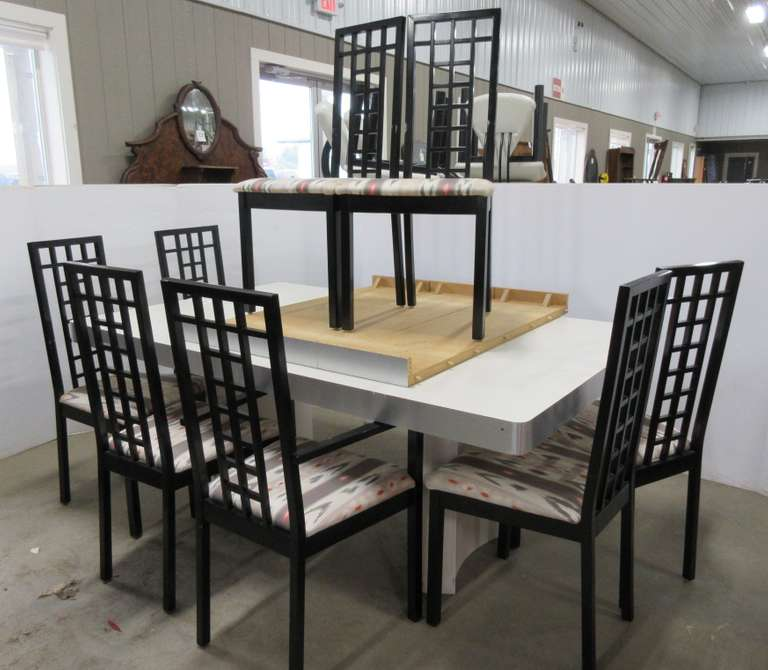 Dining Room Set with (8) Chairs, From Pronto in Bloomfield, MI, Chairs are a Silky Fabric