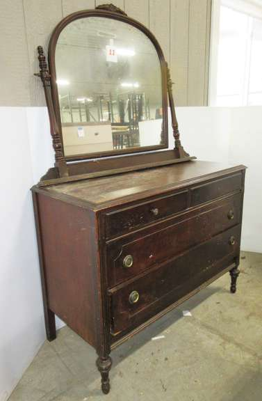 Antique Four-Drawer Chest Dresser with  Mirror, Solid Wood, Has Rotating Mirror