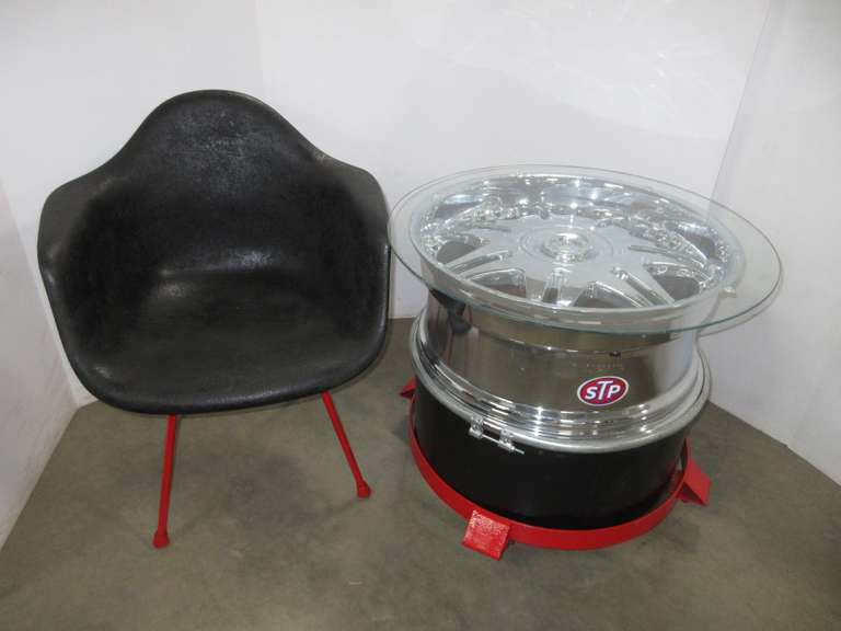 Custom Made Rim End Table on Wheels with Matching Fiberglass Chair