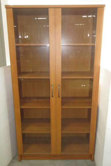 Wood Grain Bookcase with Glass