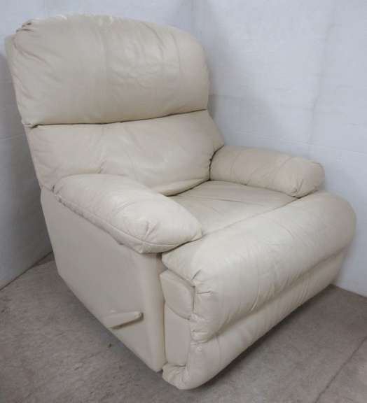 Lane Timeless Cream Leather Rocker Recliner, Made in the USA
