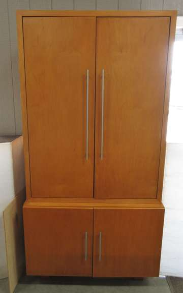 Custom Made One of a Kind Cherry Stained Cabinet, Upper Portion Separates from Lower Portion for Easier Transport, Upper Portion has Shelves, Lower Portion has Two Drawers, Fine Craftsmanship