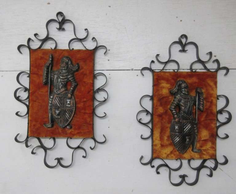 Pair of 1970s Wrought Iron Framed Gothic Medieval Warriors