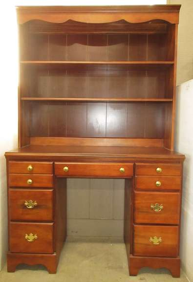 Desk/Hutch with Seven Drawers, and Three Shelves, Dark Stained, and Solid Wood Construction