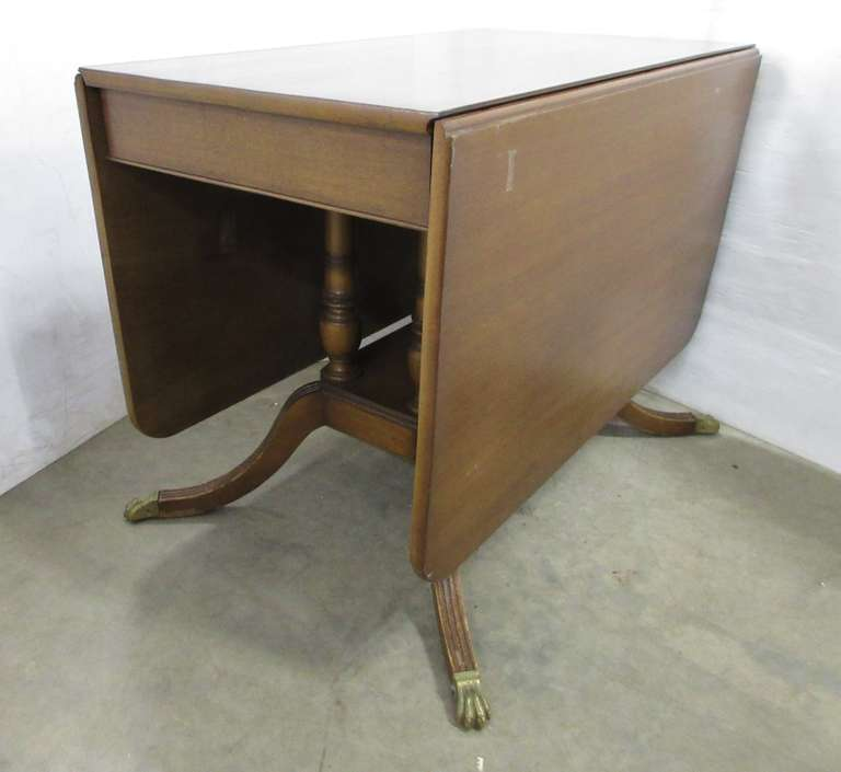 Antique Wood Claw Foot Drop Leaf Table