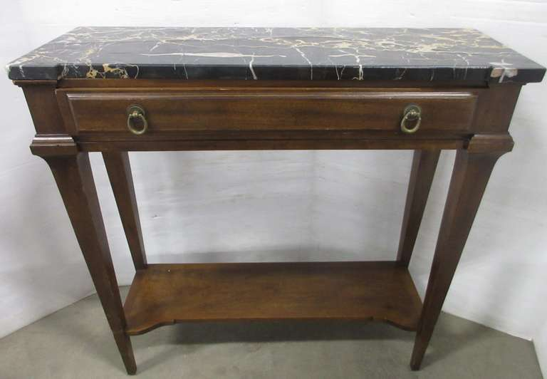Black Marble Topped Hall Table by John Widdicomb with Drawer, Manufacturer's Label on Inside Drawer