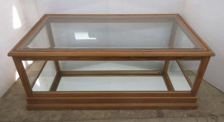 Oak Display Case/Coffee Table, Has Walnut Inlay in Top, and Mirrored Bottom, Top Glass is Beveled Tempered Glass
