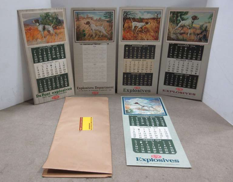 (5) DuPont Explosives and Sporting Powder Calendars with National Dog Champions on Back, Includes Years: 1955, 1956, 1957, 1958, 1959