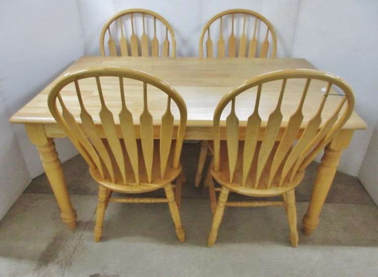 Wood Farmhouse Table and (4) Solid Barrel Back Chairs