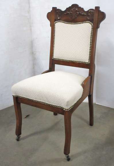 Antique Victorian Era Side Chair, Professionally Upholstered