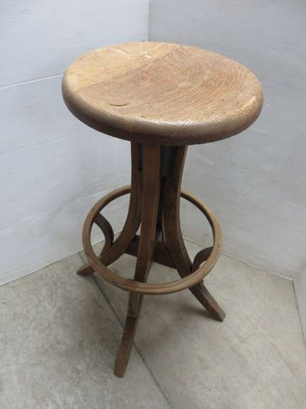 Very Old Drafting Chair, Steel and Oak Construction