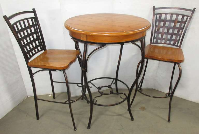Wrought Iron High Top Table and (2) Stools with Wood Tops