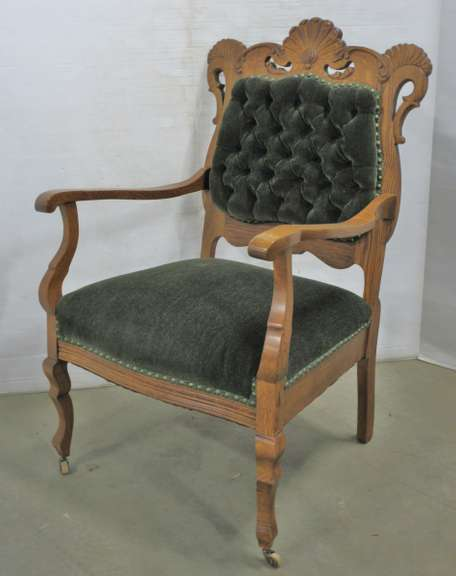 Antique Victorian Side Chair, Professionally Upholstered, Matches Lot No. 22