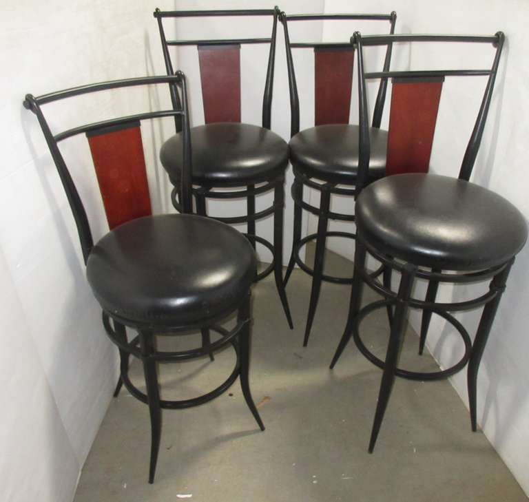(4) Steel Bar Stools with Backs, Have Swivel and Leather Seats