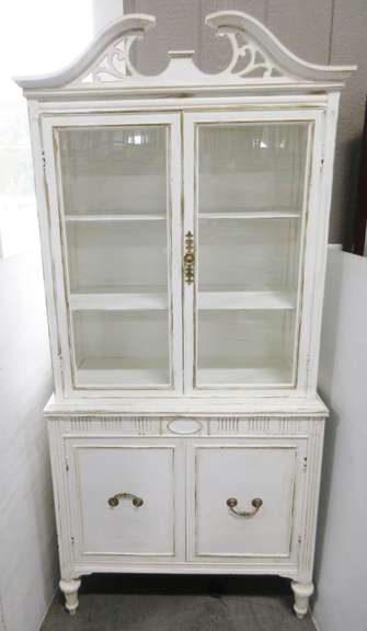 Older Shabby Chic One-Piece Curio Cabinet