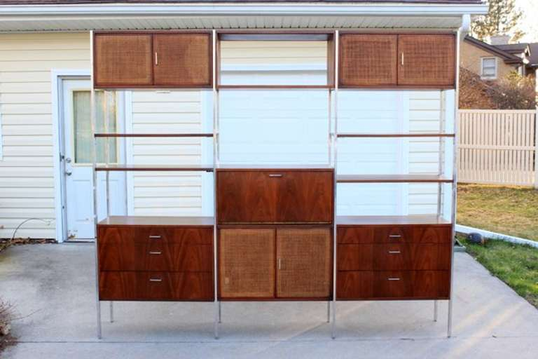 Mid-Century Modern Walnut Wall Unit or Shelving Unit, Complete with Shelves and Hardware