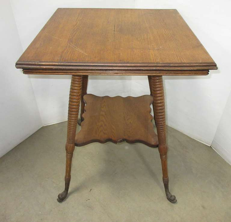Antique Tiger Oak Ball and Claw Footed Table