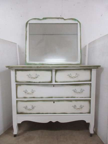Antique Four-Drawer Dresser on Casters with Mirror and Dovetail Woodworking, Matches Lot No. 35