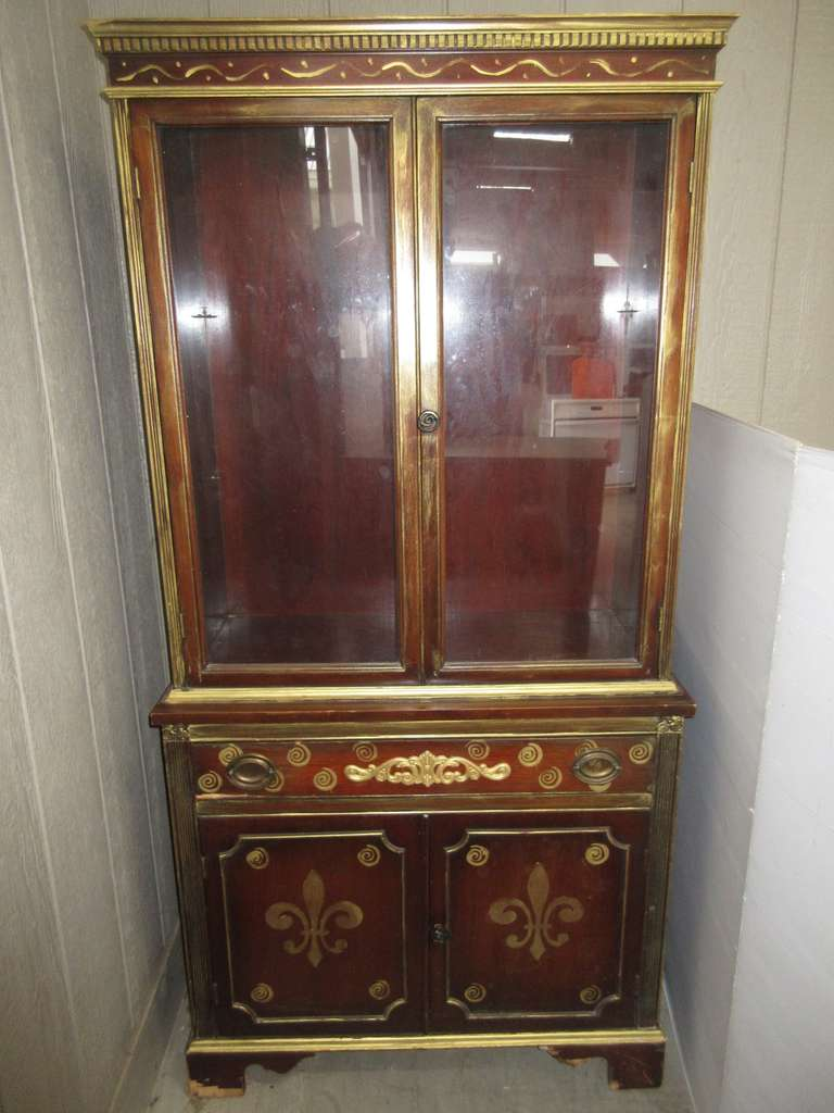 Wood China Cabinet with Gold Trim, One Drawer, and Four Doors