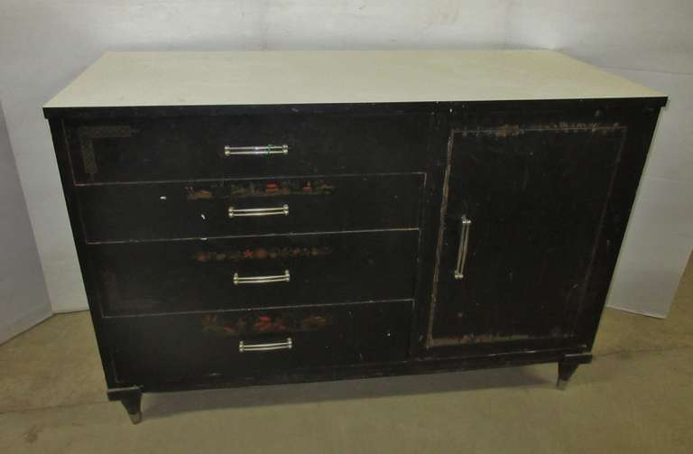 Antique Server Cabinet with Four Drawers and a Door with Shelf, Top Drawer has Removable Wood Dividers, Has All Original Hardware, All Wood Construction, Has Etchings on Drawers