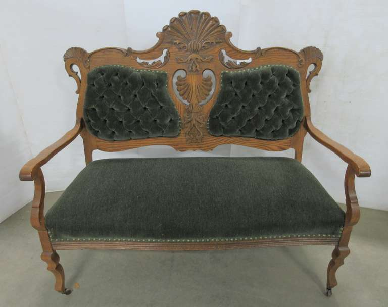 Antique Victorian Era Settee, Professionally Upholstered, Matches Lot No. 21