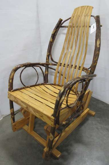 Amish Hickory and Oak Bentwood Rocker/Glider
