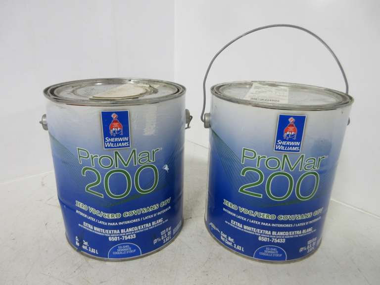 Albrecht Auctions 3 4 Gallon And One Gallon Of Extra White Sherwin Williams Promar 200 Interior Latex Paint