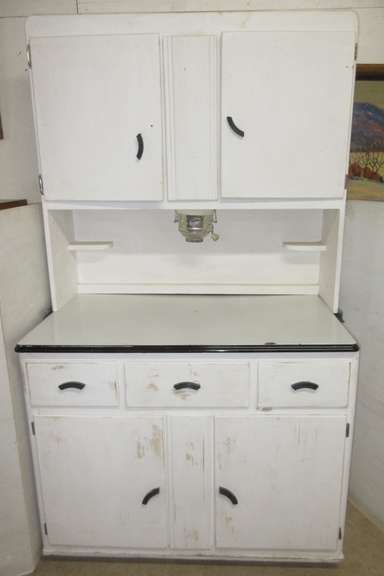 Antique Kitchen Hoosier Cabinet with Porcelain Top