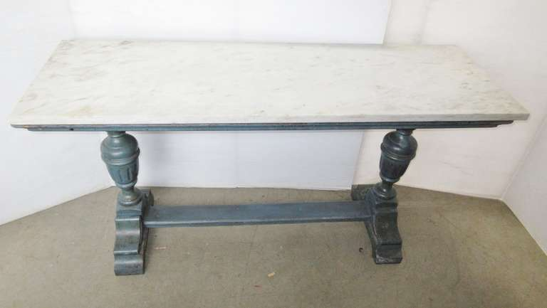Antique Farm Table with Marble Top