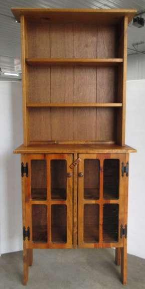 Small Wood Cabinet with Mesh Doors