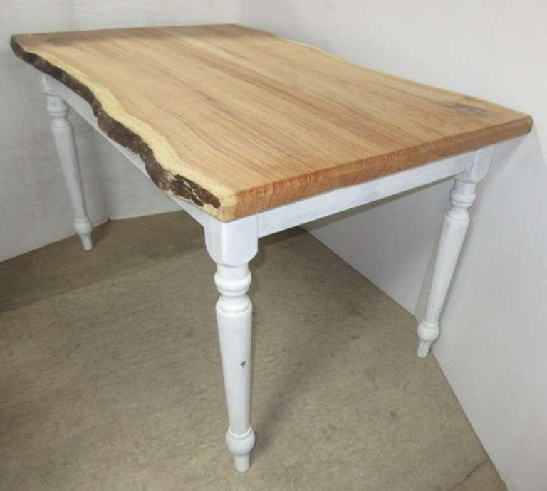 Albrecht Auctions Red Oak Top Farm Table Live Edge