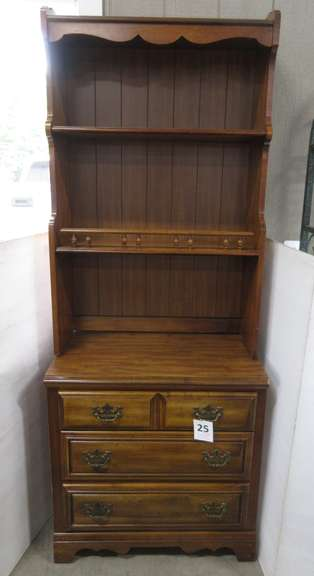 Three-Drawer Maple Dresser with Two-Shelf Bookcase Topper by American Drew, Inc.