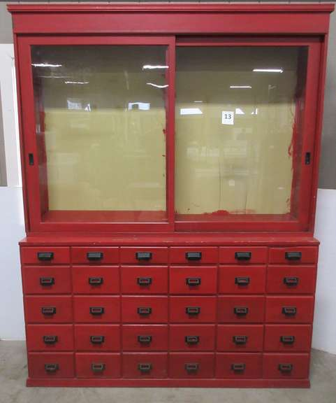 Apothecary General Store Mercantile Multi-Drawer Cabinet with Original Sliding Glass Doors, and 30 Dovetail Drawers