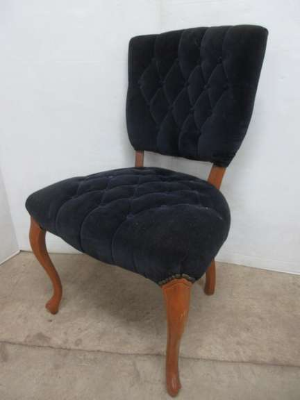 Antique Navy Velour Upholstered Parlor Chair