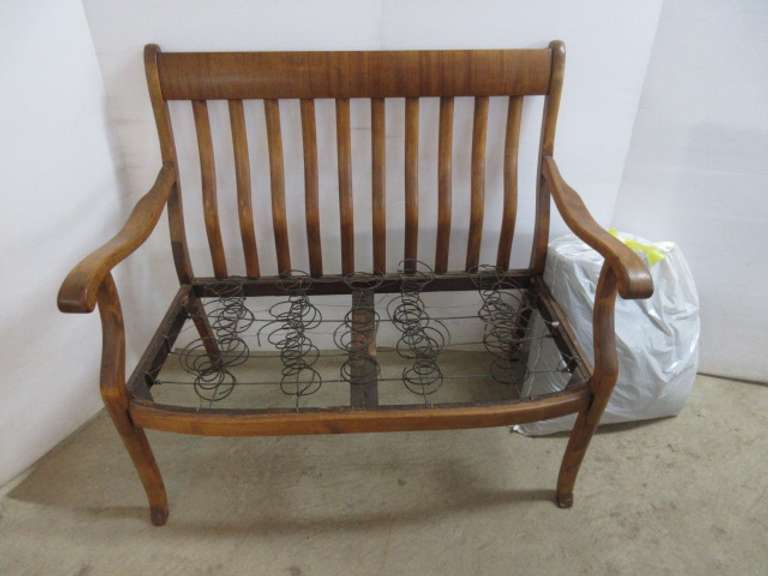 Antique Burled Maple Bench, Has Original Cover and Horsehair Gatling