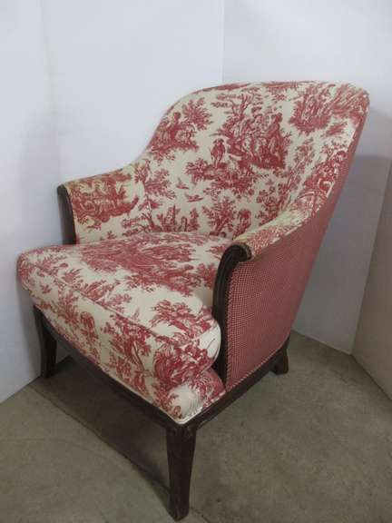 Red and White Barrel Chair, Matches Lot No. 23