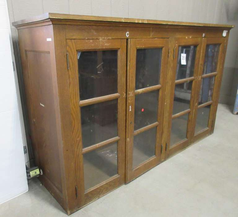 Large Oak Cabinet from Libbey High School, Toledo, OH, Has Original Finish