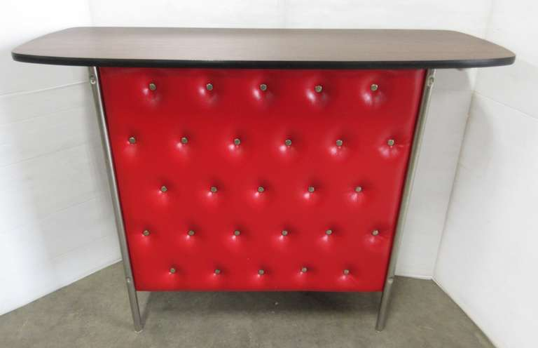 Mid-Century Stationery Bar, Walnut Laminate Top, Tufted Red Vinyl Front