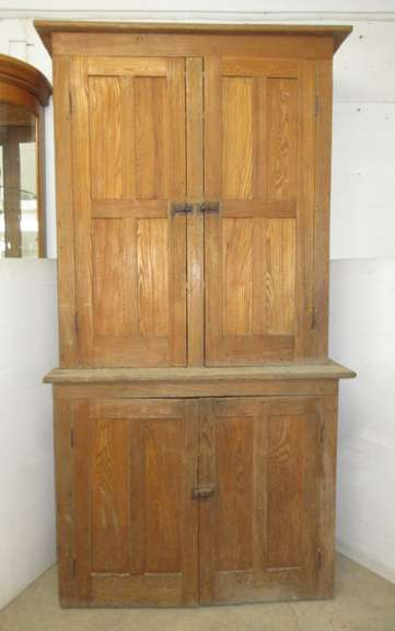 Antique Wood Cabinet with Two Doors on Top, Two Doors on Bottom, and Original Hardware