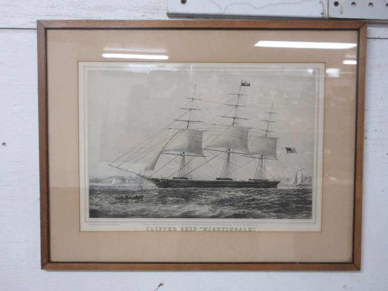 "Framed Currier and Ives Print of the Clipper Ship ""Nightingale"""