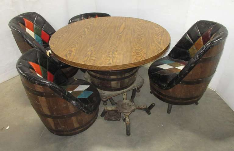 Old Whiskey Barrel Table and (4) Chairs