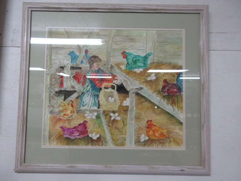 Hen House Picture, Signed MJ Fitzpatrick Framed Artwork